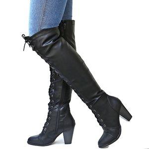 New Black Over Knee Combat Lace Up Heel Boots